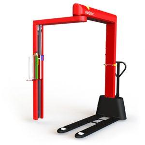 Girotec RDL 1800 – Envolvedora móvel semiautomática de filme stretch com paleteira integrada